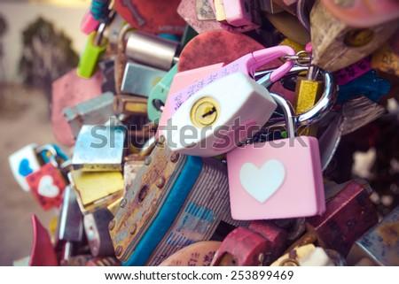 Master key of love at N Seoul tower (Seoul, South Korea) - stock photo