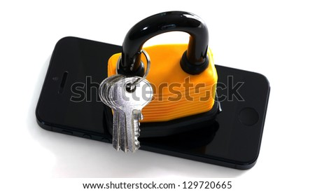 Master Key on Mobile Phone - stock photo