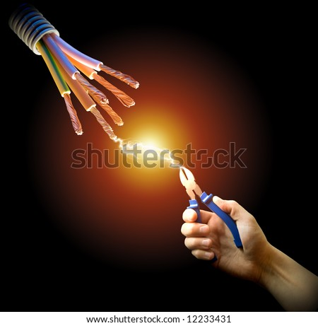 Master of the current. Electric contact. - stock photo