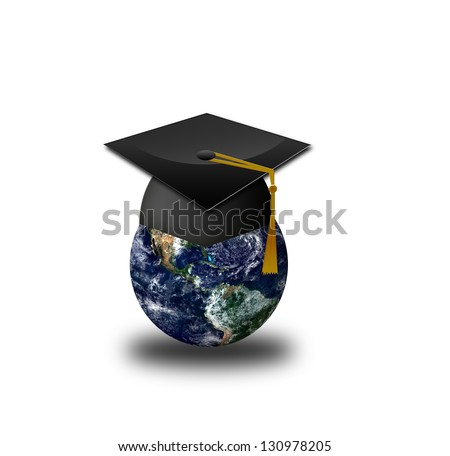 Master's cap for graduates in the globe - Elements of this image furnished by NASA - stock photo