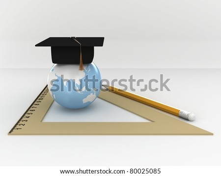 Master's cap for graduates in the globe with ruller and pensil. 3D - stock photo