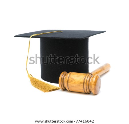Master's hat and gavel isolated on white close-up - stock photo