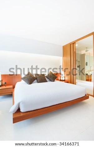 master white bedroom - stock photo