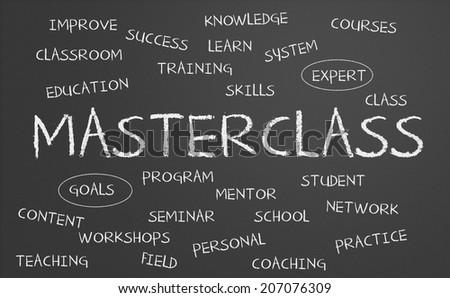 Masterclass word cloud written on a chalkboard - stock photo