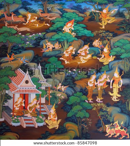 masterpiece of traditional Thai style painting art old about Buddha story on temple wall at Watmanow, Bangkok,Thailand - stock photo