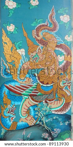 Masterpiece of traditional Thai style painting art old about Hanuman fight king of naga story on the wall of Sutat Temple, Bangkok,Thailand - stock photo