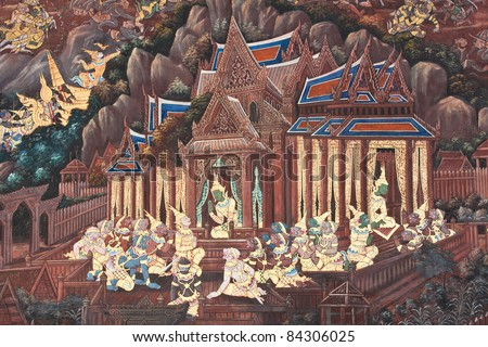 Masterpiece of traditional Thai style painting art on temple wall - stock photo