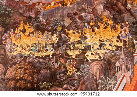 Masterpiece Ramayana painting in temple of emerald Buddha in Grand Palace in Thailand - stock photo
