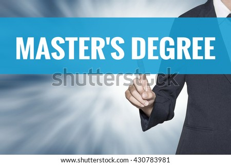 Masters Degree word on virtual screen touch by business woman cyan sky tab - stock photo