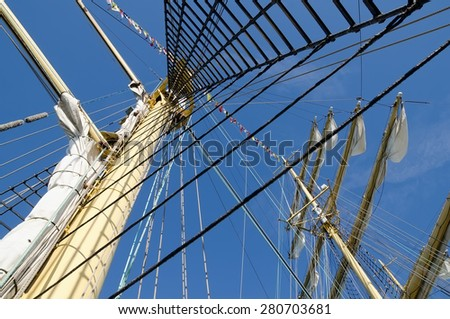 Masts close-up on a sailboat Kruzenshtern