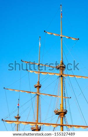 masts of an old ship - stock photo