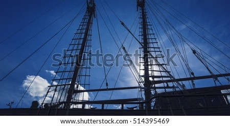 Masts of an old ship.