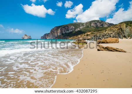 Masua beach in west coast of Sardinia, Italy