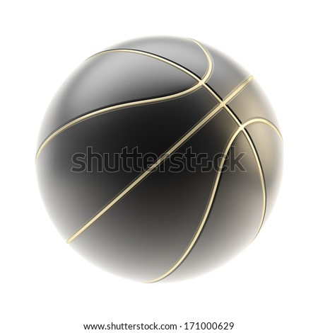 Mat black basketball ball with golden stripes 3d render isolated over white background - stock photo