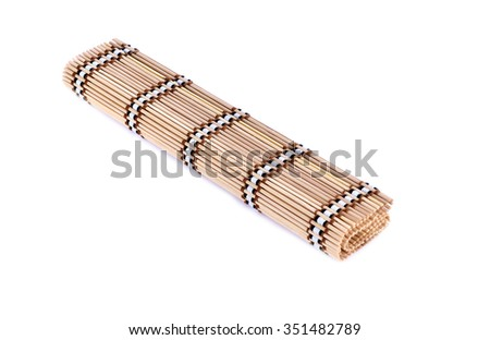Mat made of wooden sticks   bamboo mate isolated on white. - stock photo