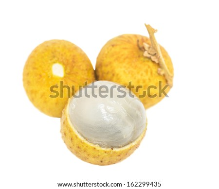 Mata Kuching fruit or literally translated as Cat Eye Fruit , a subspecies of the Longan Fruit over white background.