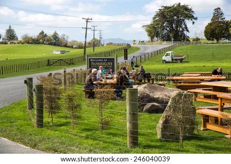 Mata Mata, New Zealand - September 25: View of the Hobbiton movie set in Mata Mata, New Zealand on September 25, 2014. - stock photo