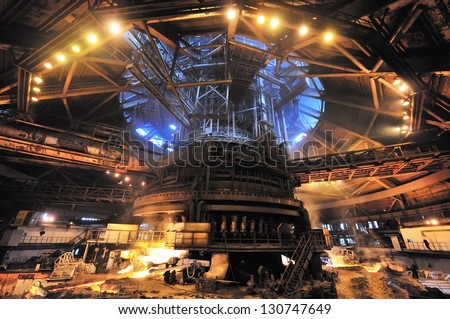 matallurgic production, blast furnace, cast iron melting - stock photo