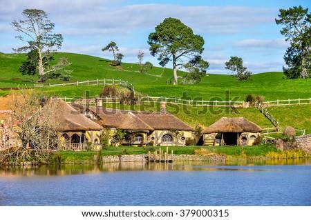 MATAMATA, NEW ZEALAND - JULY 25, 2012: Green Dragon Inn in Lord of the Rings location Hobbiton, Matamata, New Zealand - stock photo