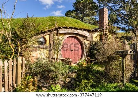 MATAMATA, NEW ZEALAND - JULY 24, 2012: Hobbit House in Lord of the Rings location Hobbiton, Matamata, New Zealand - stock photo