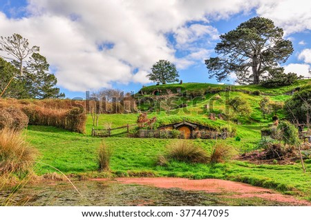 MATAMATA, NEW ZEALAND - JULY 24, 2012: View of the village in Lord of the Rings location Hobbiton, Matamata, New Zealand - stock photo