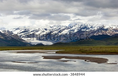 Matanuska Glacier and Matanuska river along Alaskan highway 1 - stock photo