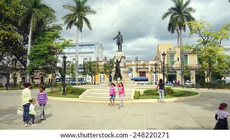 MATANZAS, CUBA - DECEMBER 14, 2014: The central square of the city of Matanzas, Cuba. - stock photo