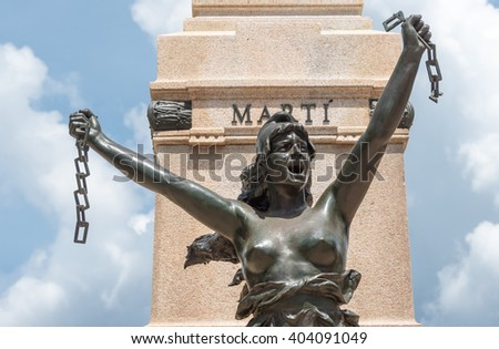 MATANZAS,CUBA-JULY 6,2015: Jose Marti Statue detail. Located in the city's main plaza the statue is an important historical and tourist landmark - stock photo