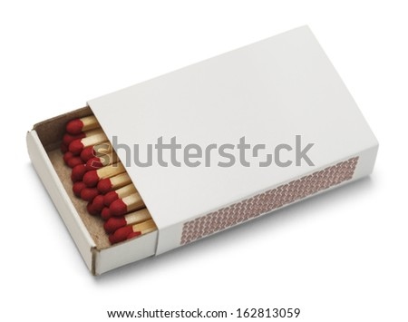 Match Box with Copy Space Isolated On White Background. - stock photo