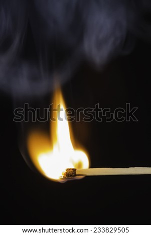 Match bursting into flame against a black background - stock photo