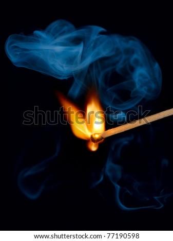 Match flame and smoke - stock photo