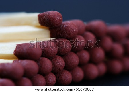 Match isolated on blue. Blur image - stock photo