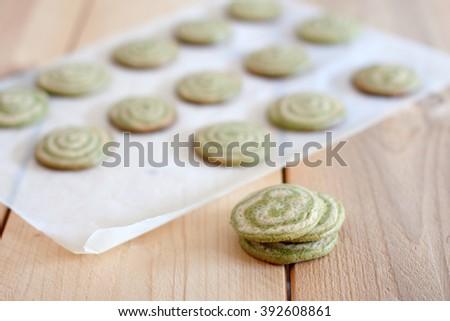Matcha cookies - stock photo