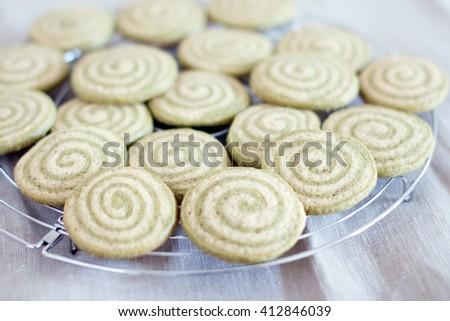matcha cookies on coolling rack - stock photo