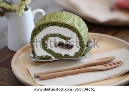 Matcha Green tea cake. - stock photo