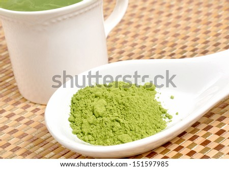 Matcha green tea on a spoon by a cup of green tea - stock photo