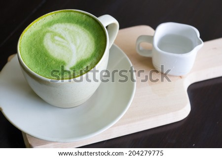 Matcha Latte Cup of green tea   - stock photo