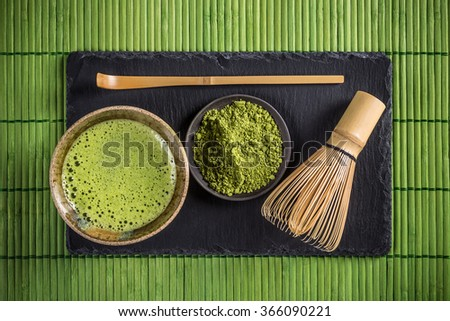 Matcha tea and green tea utensils - stock photo