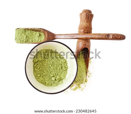 Matcha Tea in the bowl and scoops isolated on white background  - stock photo