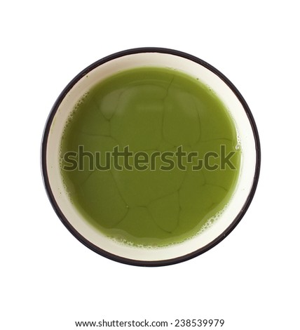 Matcha Tea in the bowl isolated on white background - stock photo
