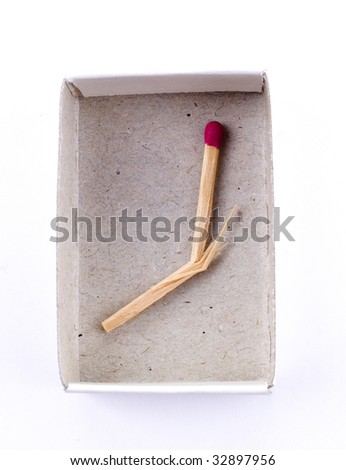 Matchbox and last broken match isolated on white background - stock photo