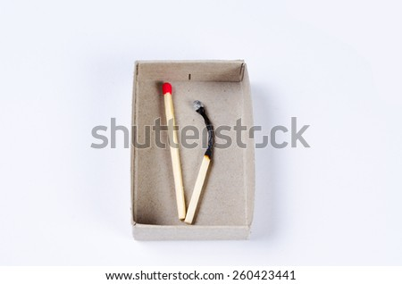 Matchbox and two last matches isolated on white background  - stock photo