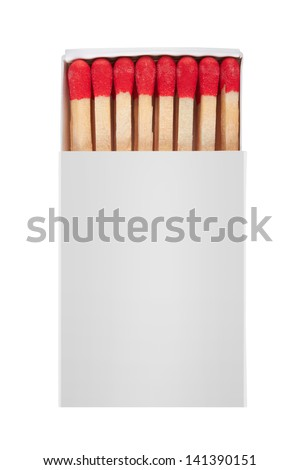 Matchbox isolated on white background - stock photo