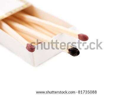 Matchbox with intact and burnt matches on white - stock photo