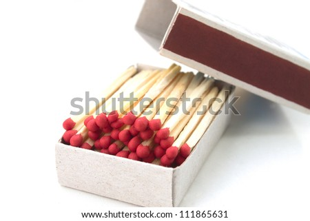 Matches and box on white background
