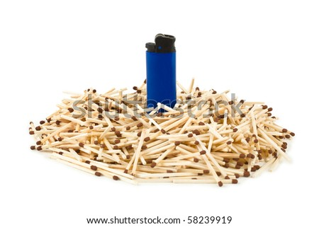 Matches and lighter - leadership concept isolated on white background - stock photo
