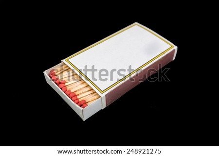 matches and matchbox collection isolated on black background. - stock photo