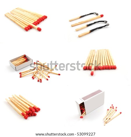 matches and matchbox collection isolated on white background - stock photo