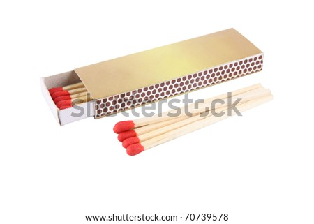 matches and matchbox  isolated on white - stock photo