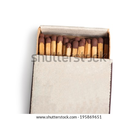 Matches in a matchbox isolated on white background - stock photo